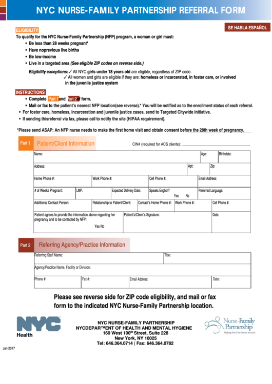 Nyc Nurse-family Partnership Referral Form - Department Of Health And Mental Hygiene