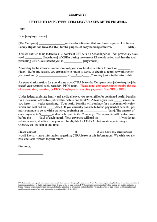 Letter To Employee: Cfra Leave Taken After Pdl/fmla Template Printable pdf