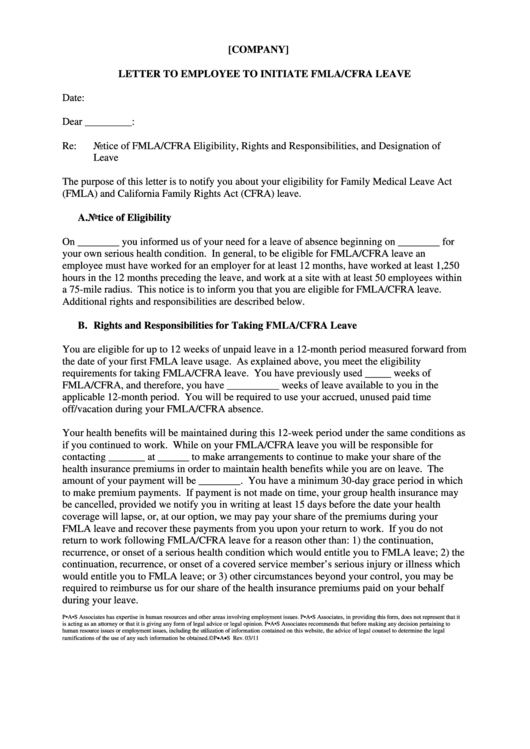 Letter To Employee To Initiate Fmla/cfra Leave