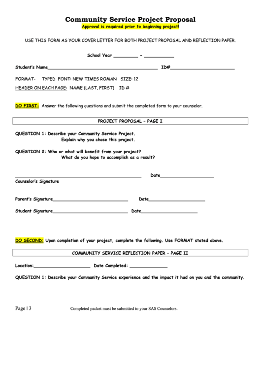 Top 6 Community Service Project Proposal Form Templates Free To