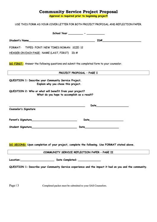 Community Service Project Proposal Form Printable pdf