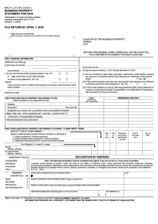 fillable form boe-571-l - business property statement