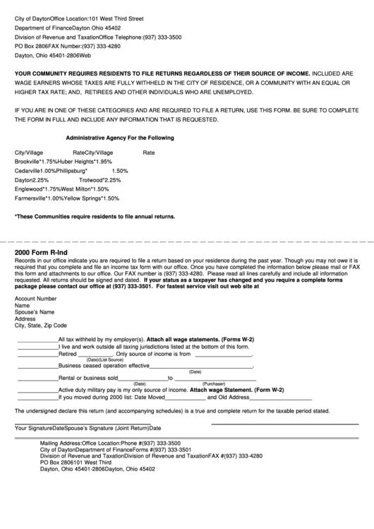 Form R-ind - Income Tax - 2000 Printable pdf
