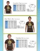 Youth's Tee Size Chart/ Teen Girl's Tee Size Chart/ Teen Boy's Tee Size Chart