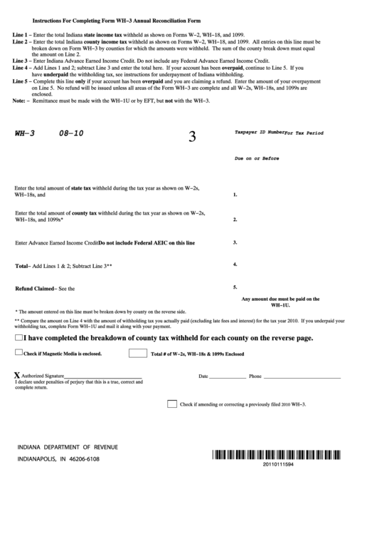 Fillable Form Wh-3 - Breakdown Of Indiana County Tax ...