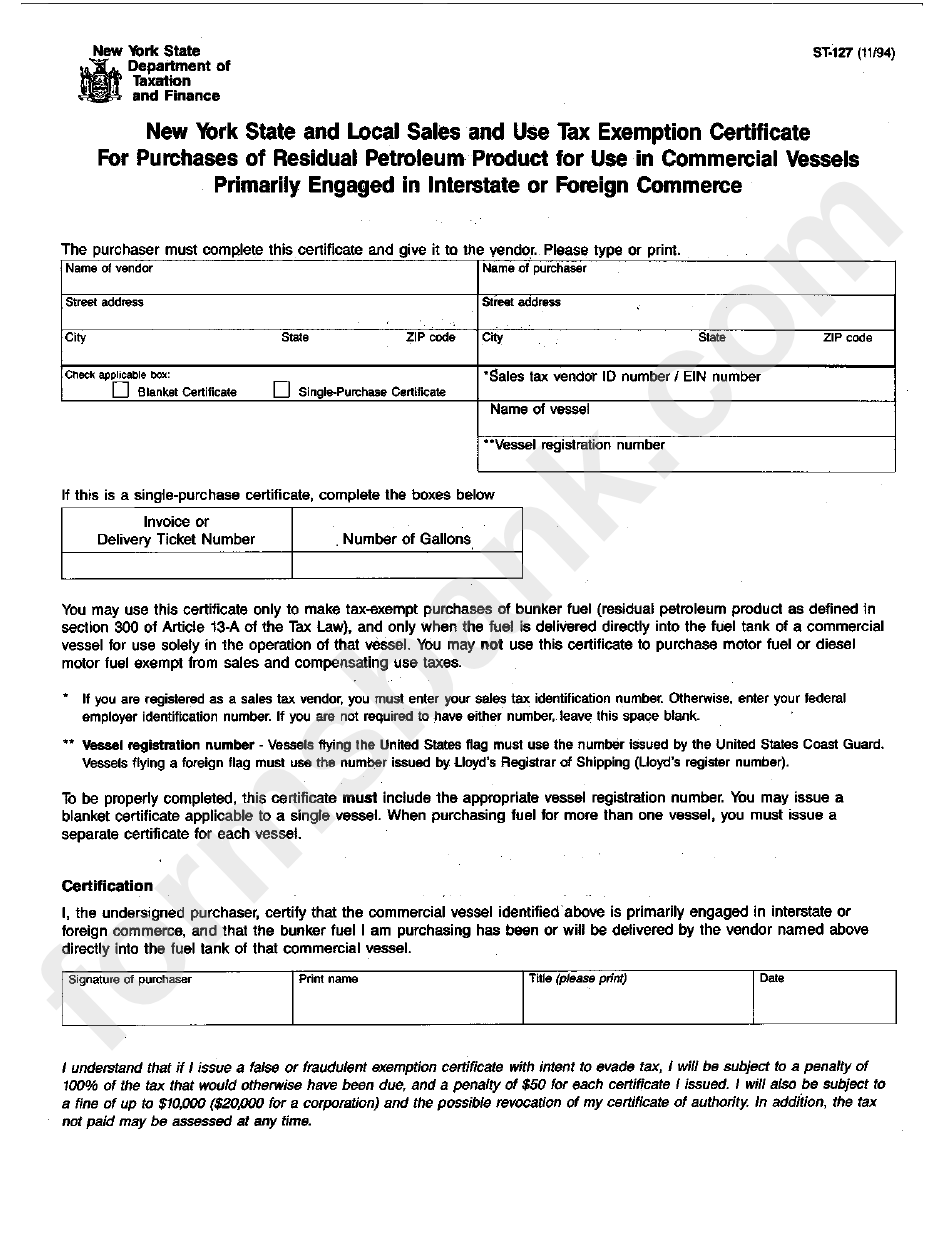 tax certificate form exemption sales nys york state st interstate commerce vessels commercial local engaged petroleum primarily residual purchases foreign