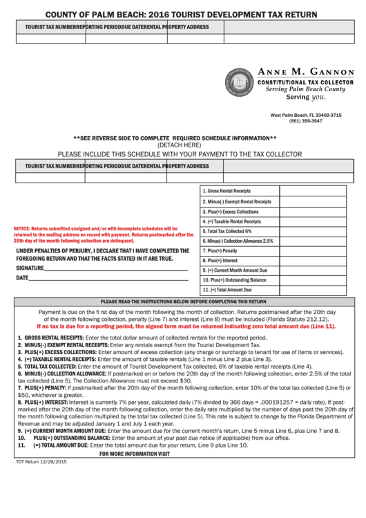 Tourist Development Tax Return - County Of Palm Beach Form - 2016