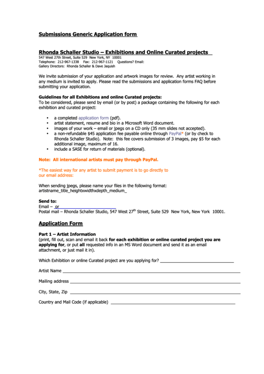 submissions generic application form printable pdf download