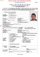 Form V.2013 - China 10 Year Visa Application Example