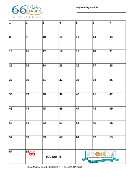 66 Days To Healthy Habits Challenge Printable Pdf Download