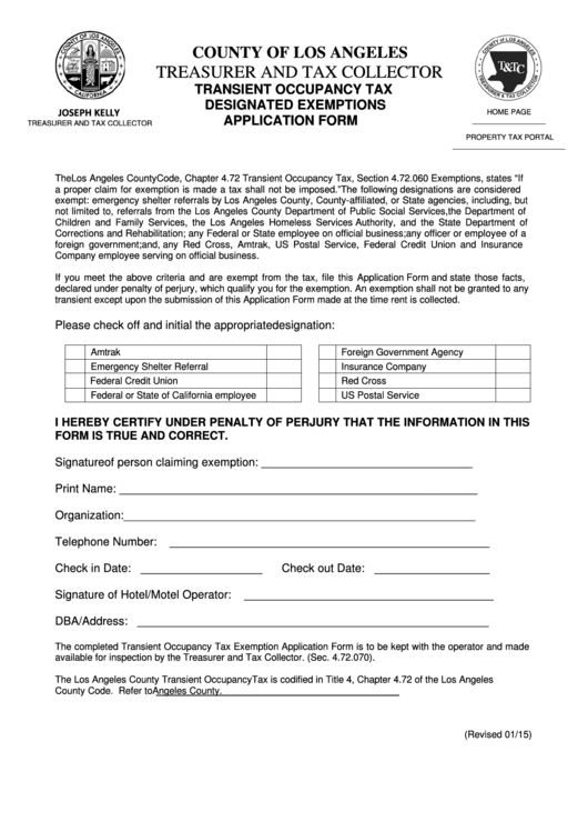 Transient Occupancy Tax Designated Exemptions Application Form - County Of Los Angeles Printable pdf