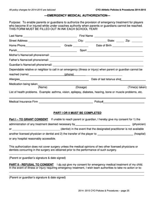Emergency Medical Authorization Form 2014 2015