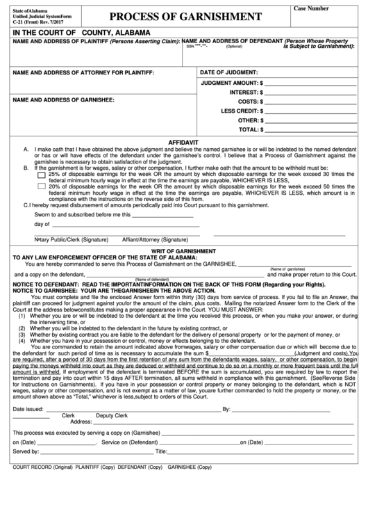 Form C-21 - Process Of Garnishment
