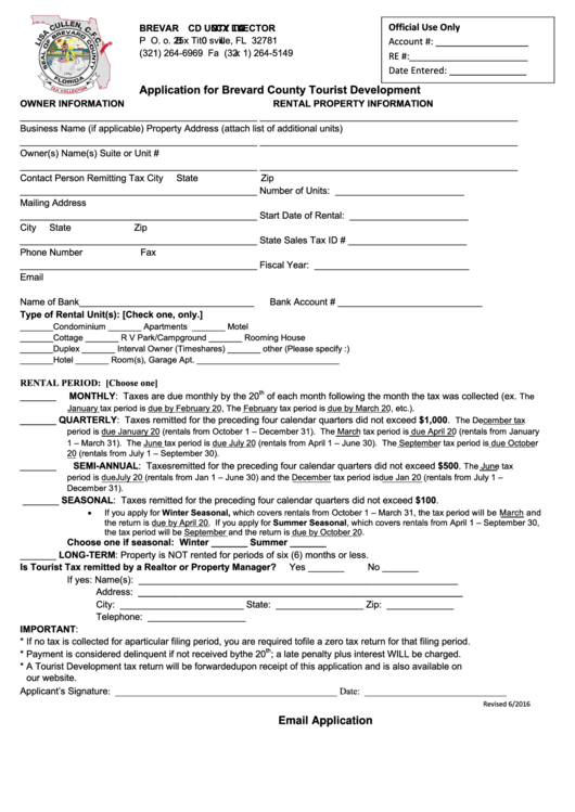 Application For Tourist Tax - Brevard County Tax Collector Form
