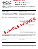 Sample Request For Transfer Admission - Application Fee Waiver - Nacac