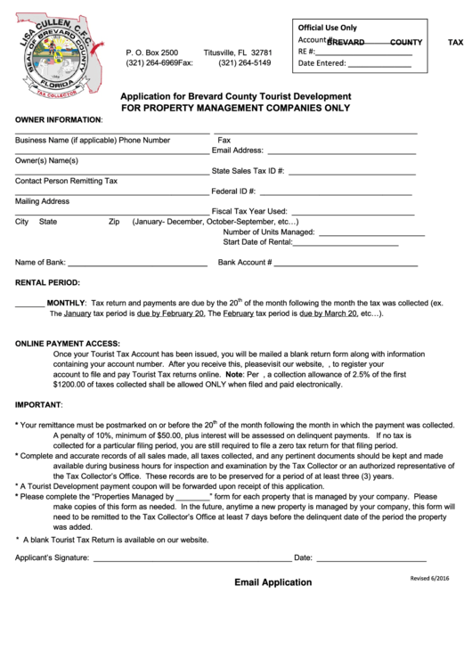 Property Management Application - Brevard County Tax Collector Form