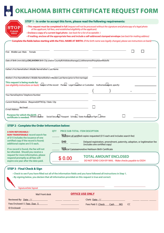 Top Oklahoma Birth Certificate Form Templates free to download in ...
