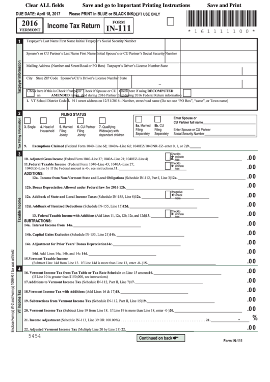Form In-111 - Vermont Income Tax Return - 2016