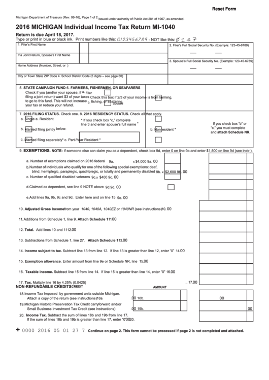 Fillable Form Mi 1040 Michigan Individual Income Tax Return 2016