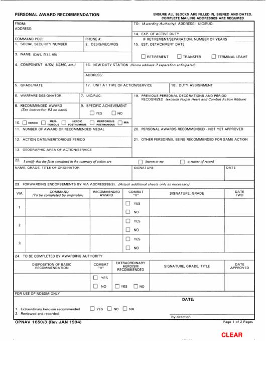 Fillable Form Opnav 1650/3 - Personal Award Recommendation - Navygirl Printable pdf
