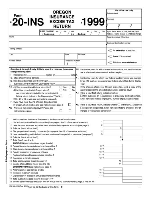 Form 20-ins - Oregon Insurance Excise Tax Return - 1999