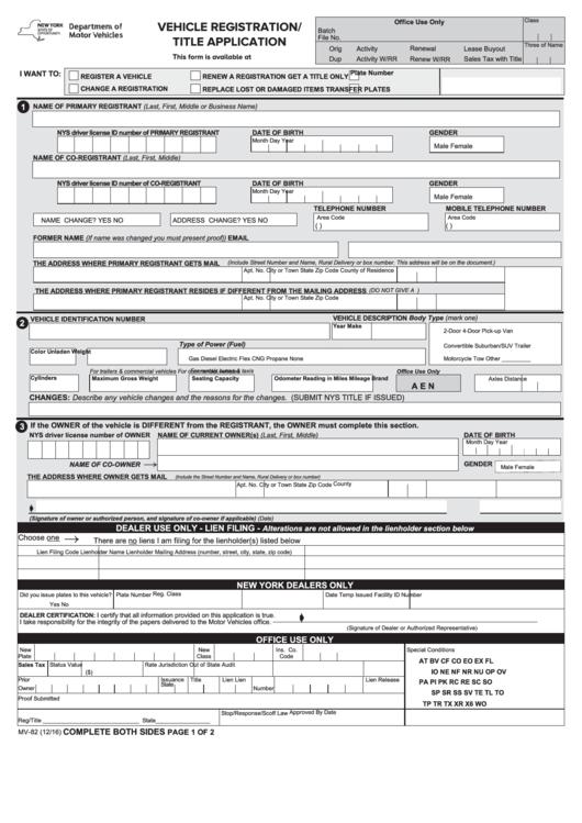 Form Mv-82 - Vehicle Registration / Title Information