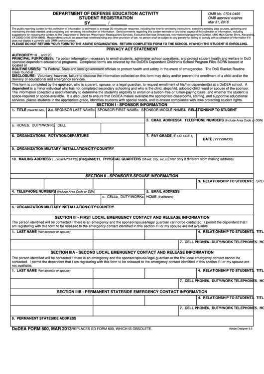 Dodea Form 600 - Student Registration