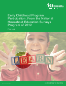 Early Childhood Program Participation, From The National Household Education Surveys Program Of 2012 - U.s. Department Of Education
