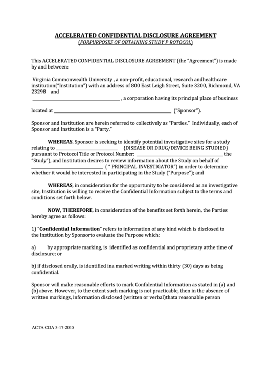 Fillable form acta cda accelerated confidential for Cda agreement template