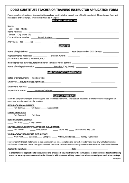Ddess Substitute Teacher Or Training Instructor Application Form Printable pdf