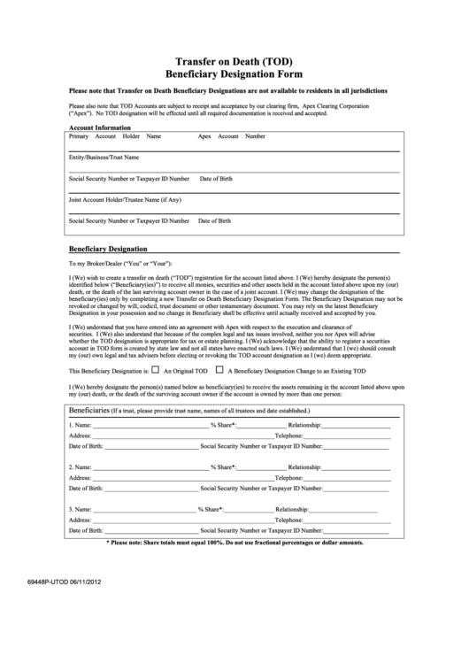 Form 69448p Utod Transfer On Death Beneficiary Designation Form Printable Pdf Download