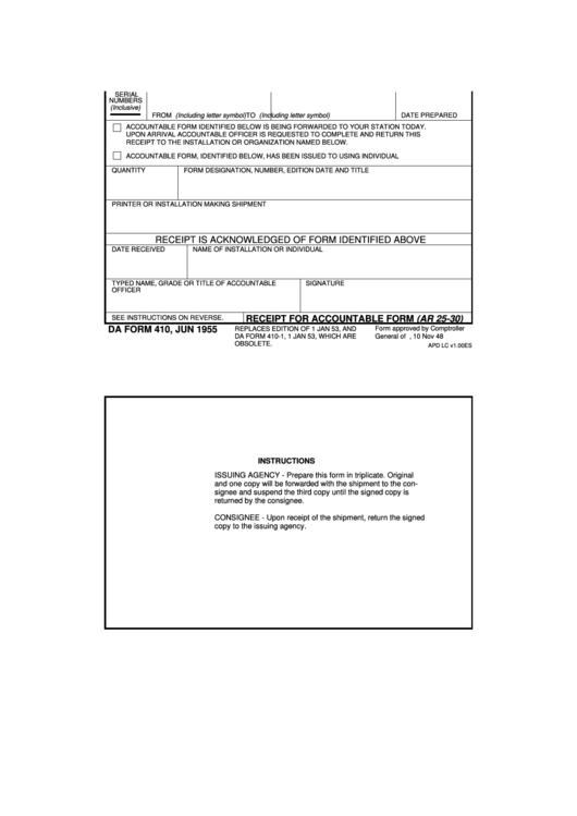 Fillable Da Form 410 - Receipt For Accountable Form (Ar 25-30) Printable pdf
