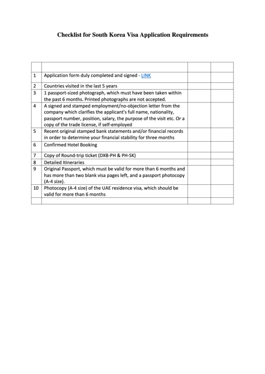 Checklist For South Korea Visa Application Requirements Template