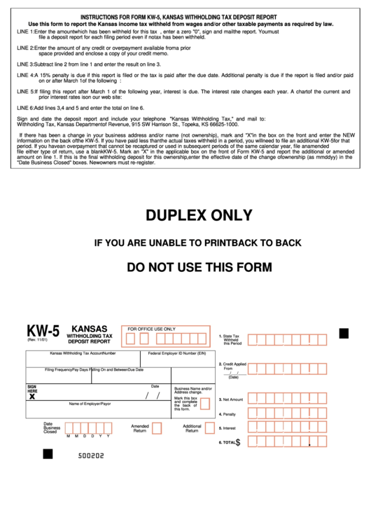 Form Kw-5 - Kansas Withholding Tax Deposit Report And Change Forms Printable pdf