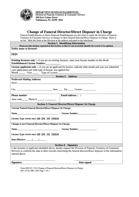 Form Dfs-N1-1743 - Change Of Funeral Director/direct Disposer In Charge - 2012 Printable pdf
