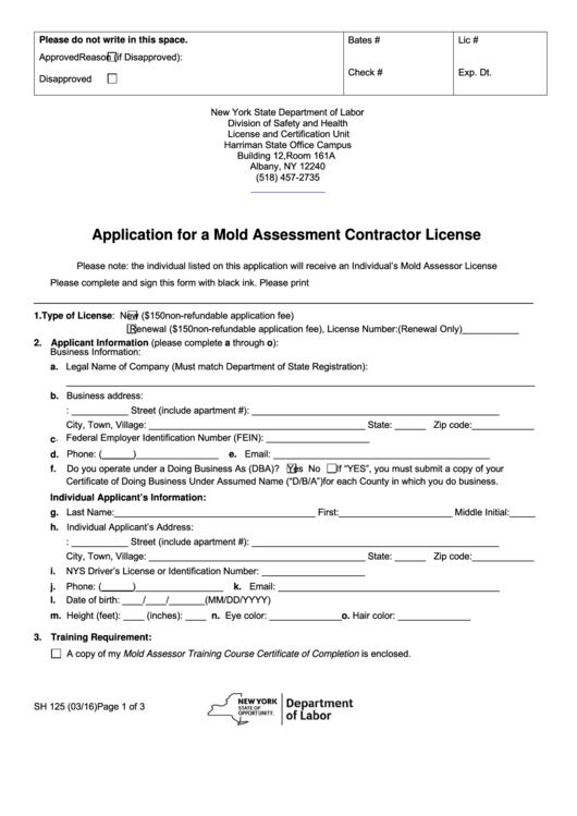 Form Sh 125 - Application For A Mold Assessment Contractor License