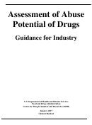 Guidance For Industry - Assessment Of Abuse Potential Of Drugs - U.s. Department Of Health And Human Services - 2017