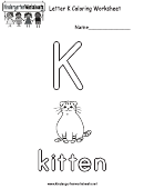 Letter K Coloring Worksheet