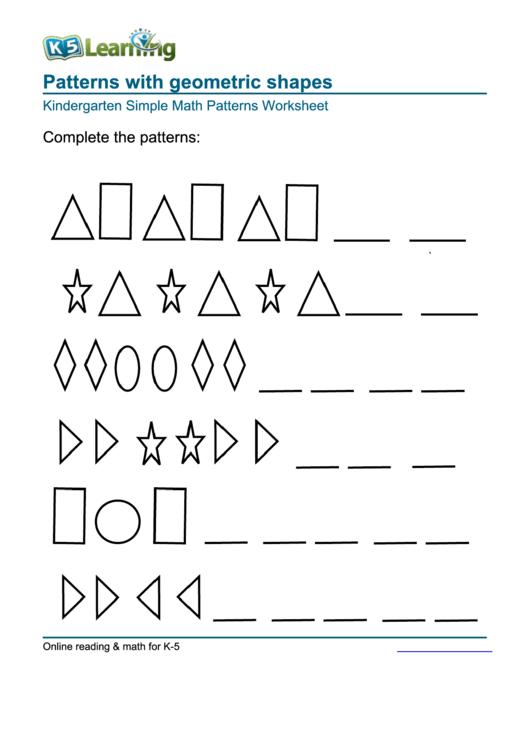patterns with geometric shapes kindergarten simple math patterns worksheet printable pdf download. Black Bedroom Furniture Sets. Home Design Ideas