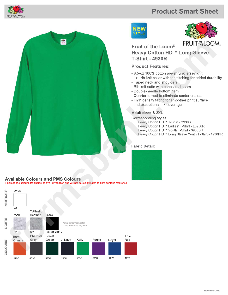 Fruit Of The Loom Heavy Cotton Long Sleeve T Shirt Size Chart