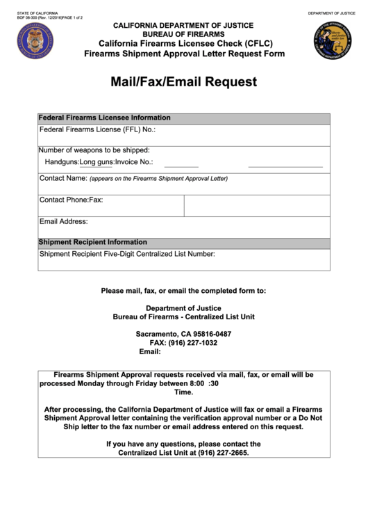 Fillable Form Bof 08-300 - California Firearms Licensee Check (Cflc) Firearms Shipment Approval Letter Request Form - California Department Of Justice Printable pdf