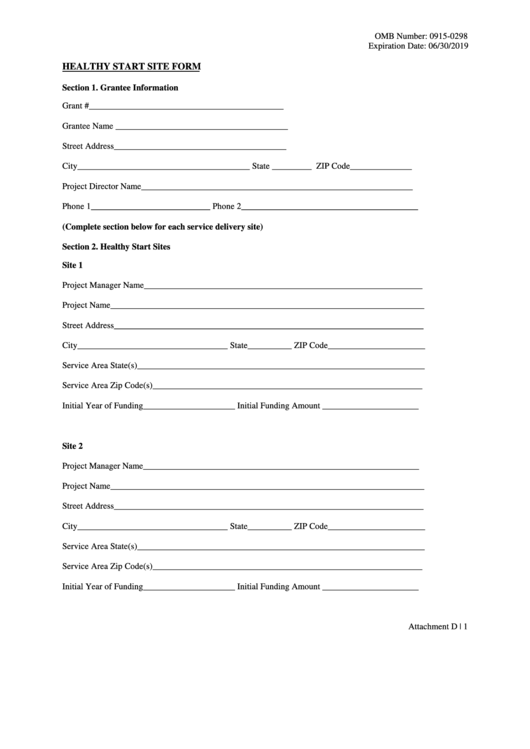 Healthy Start Site Form
