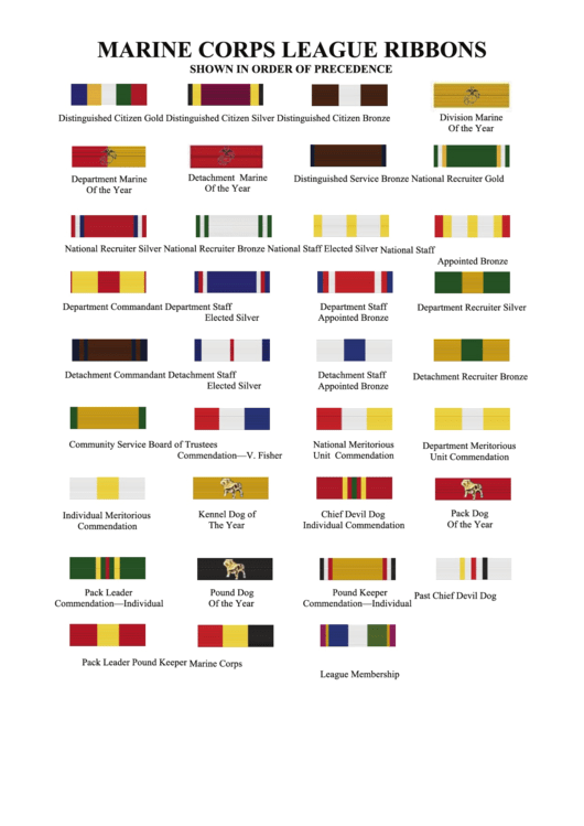 Marine Corps League Ribbons Chart Printable Pdf Download