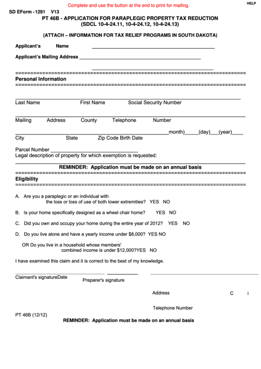 Fillable Sd Eform-1291 - Application For Paraplegic Property Tax Reduction - 2012 Printable pdf