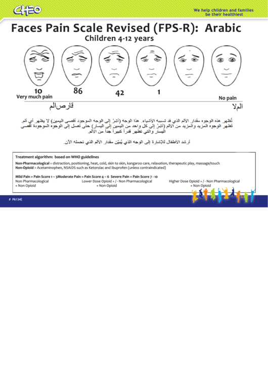 Faces Pain Scale Chart - Arabic
