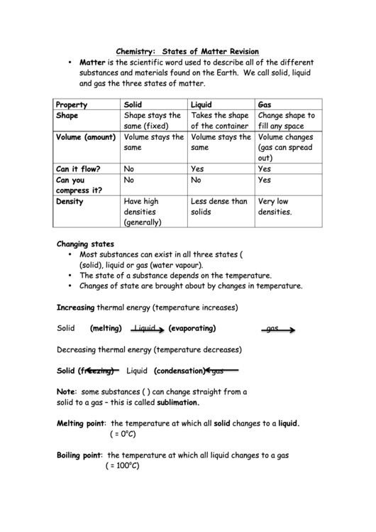 Chemistry: States Of Matter Cheat Sheet printable pdf download