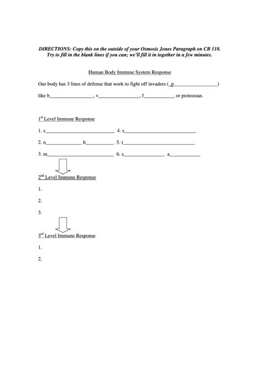 Human Body Immune System Response Biology Worksheet