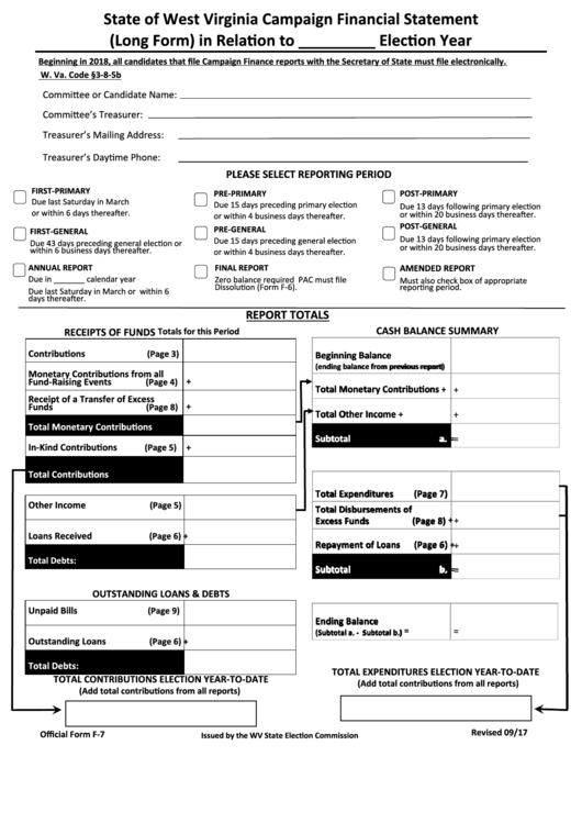 Form F-7 - West Virginia Campaign Financial Statement (Long Form) Printable pdf