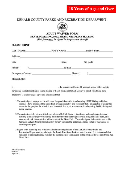 Adult Waiver Form - Skateboarding, Bmx Biking Or Inline Skating - Dekalb County Parks And Recreation Department