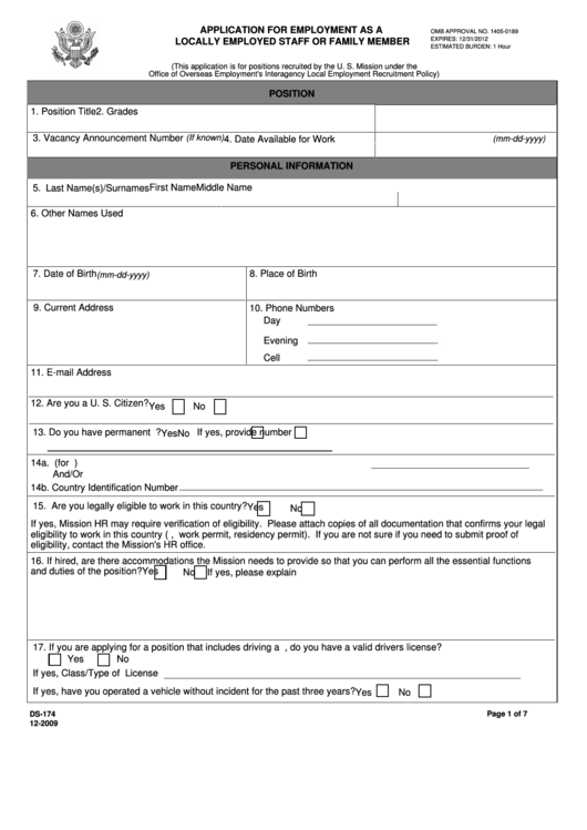 Fillable Form Ds-174 - Application For Employment As A Locally Employed Staff Or Family Member - U.s. Department Of State Printable pdf